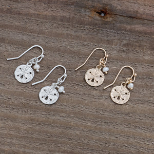 Glee - Small Sand Dollar Studs, Silver/White/Pearl
