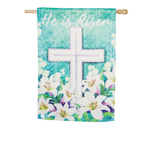 Evergreen - Easter Cross Suede House Flag