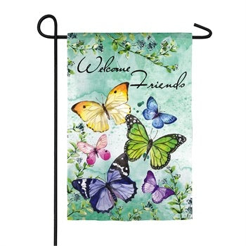 Evergreen -  Butterfly Friends Garden Textured Suede Flag