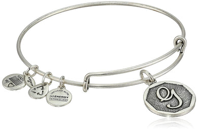 "Alex and Ani -Letter ""G"" Expandable Charm Bangle, Silver Finish"