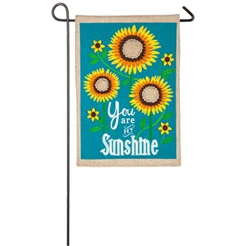 Evergreen - Sunflower Welcome Garden Burlap Flag, You are my Sunshine