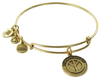Alex and Ani -Turn Peace Up Expandable Charm Bangle, Gold Finish