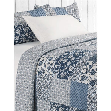 Edith Blue & Ivory 3 Piece Quilt Collection