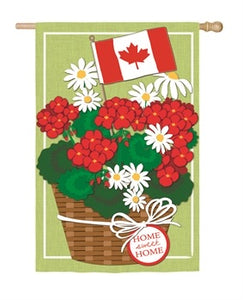 Evergreen - Canadian Patriotic Basket of Flowers House Linen Flag