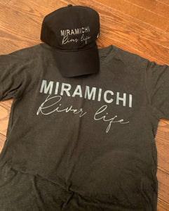 """Miramichi River Life"" Dark Grey T-shirt"