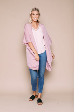 ORB Eleanore - Tissue Knit Kimono Cardigan Soft Pink