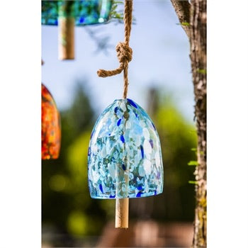 Evergreen - Art Glass Speckle Light Blue Bell Chime