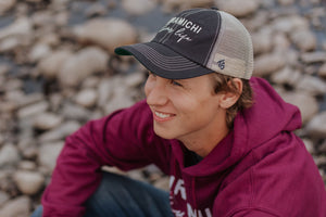 """Miramichi River Life"" BLACK Snap Back Hat"