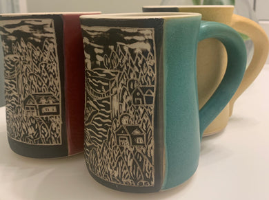 MIRAMICHI RIVER Custom Pottery Mugs - Priceville Footbridge Scene