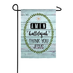 Evergreen -  Thank You Jesus Garden Suede Flag