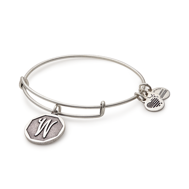 "Alex and Ani -Letter ""W"" Expandable Charm Bangle, Silver Finish"