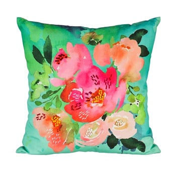 Evergreen - Outdoor Safe Canvas Pillow, Floral Watercolors