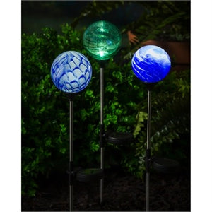 Evergreen - Solar Glass Garden Stake, Art Glass Stone