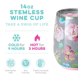 NEW Garden Party SWIG Insulated Stemless Wine Cup 14onz