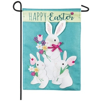 Evergreen - Bunny Trio Garden Burlap Flag