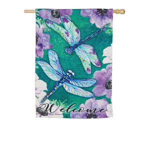 Evergreen - Dragonfly Duo Suede Garden Flag