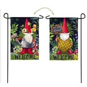 Evergreen - Gnomes in the Garden Garden Suede Flag