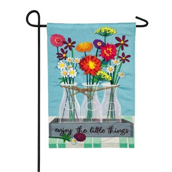 Evergreen - Floral Milk Bottle Trio Garden Linen Flag