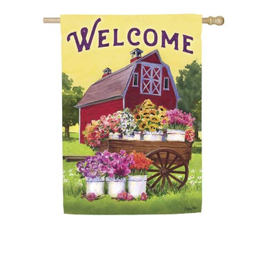 Evergreen - Flower Farm Spring Welcome Garden Flag