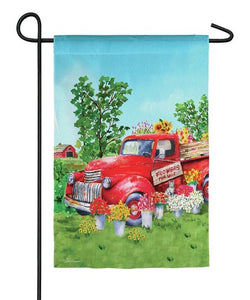 Evergreen - Red Flower Truck Suede Garden Flag