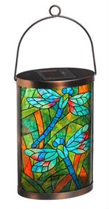 Evergreen - Solar Lantern, Tiffany Inspired Dragonfly