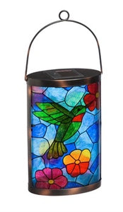 Evergreen - Solar Lantern, Tiffany Inspired Hummingbird