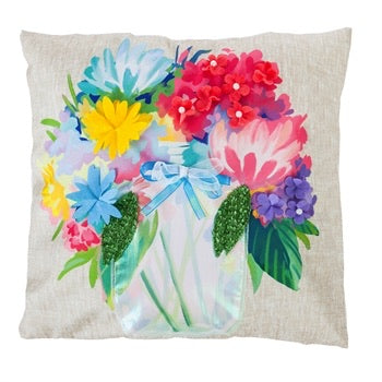 Evergreen - Outdoor Safe Canvas Pillow, Floral Mason Jar