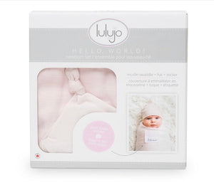 LULUJO HELLO WORLD - PINK Swaddling blanket & Hat Set