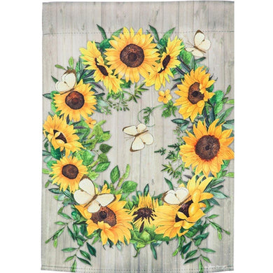 Evergreen - Sunflower Wreath Suede Garden Flag