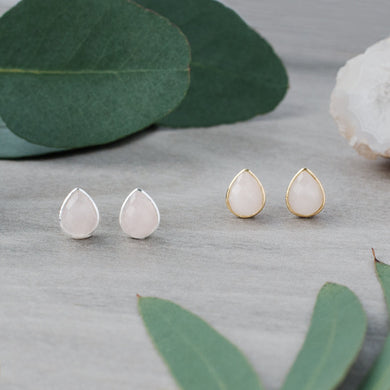 Glee - Crown Studs, Silver / Rose Quartz