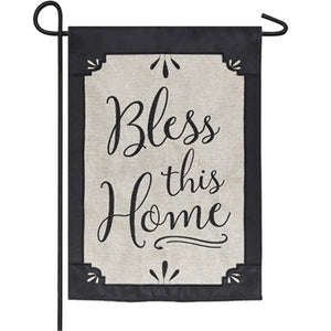 Evergreen - Bless This Home Garden Burlap Flag