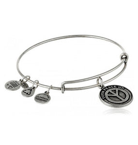 Alex and Ani -Turn Peace Up Expandable Charm Bangle, Silver Finish