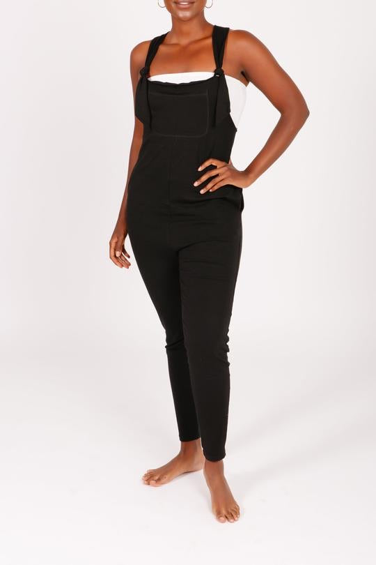 Smash & Tess KNOTTERALLS Romper in Midnight Black