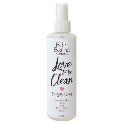 """Love to be Clean"" Alcohol Spray (Eucalyptus & Mint) 240ml"