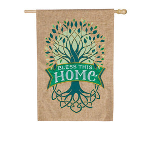 Evergreen - Celtic Tree of Life Burlap House Flag