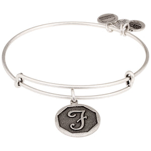"Alex and Ani -Letter ""F"" Expandable Charm Bangle, Silver Finish"