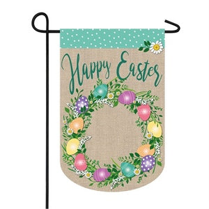 Evergreen - Easter Egg Wreath Garden Burlap Flag