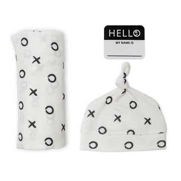 LULUJO HELLO WORLD - XO Swaddling blanket & Hat Set