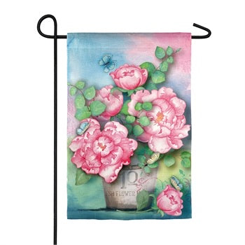 Evergreen - Spring Peony Garden Textured Suede Flag