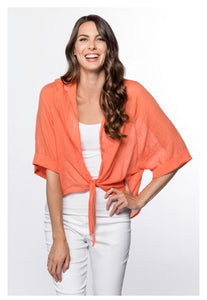 RC - Tie-Front Flutter Sleeve Top in Coral