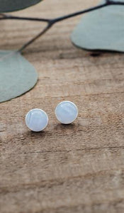 Glee - Anytime Studs, Silver/Blue Lace Agate