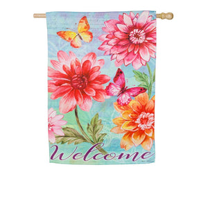 Evergreen - Fresh Dahlias Suede House Flag