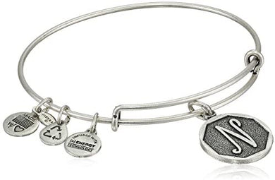 "Alex and Ani -Letter ""N""Expandable Charm Bangle, Silver Finish"