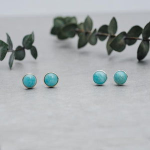 Glee - Anytime Studs, Silver/Amazonite