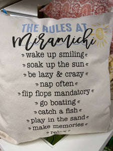 """The Rules At Miramichi"" Pillow 18x18"
