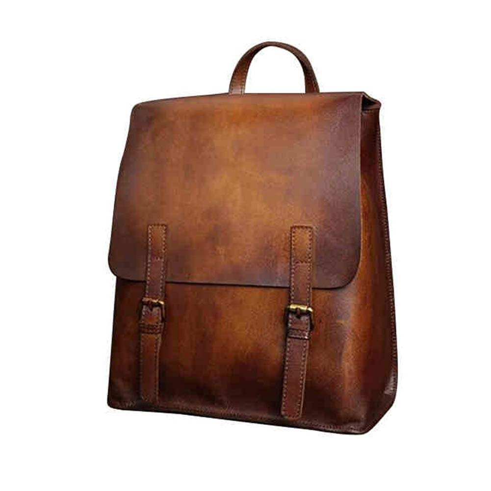 Yoome Vintage Genuine Leather Backpack Handmade Brush-Off Laptop Backpack Large Travelbag Casual Daypack British Wind College Bookbag Messenger Bag for Men & Women,Brown - Bleisure Travels