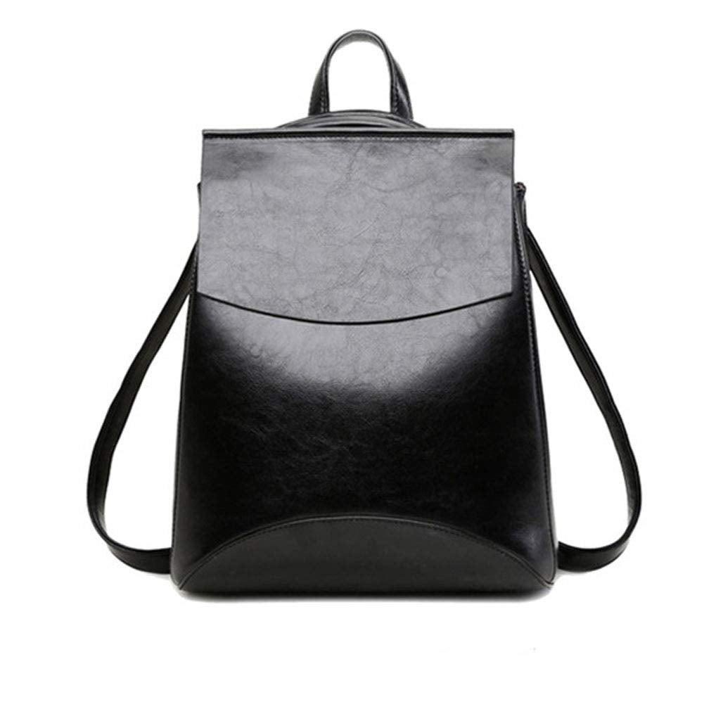 Yoome Vintage Soft Leather Backpack Shoulder Bag Campus BookBag for Women Black - Bleisure Travels