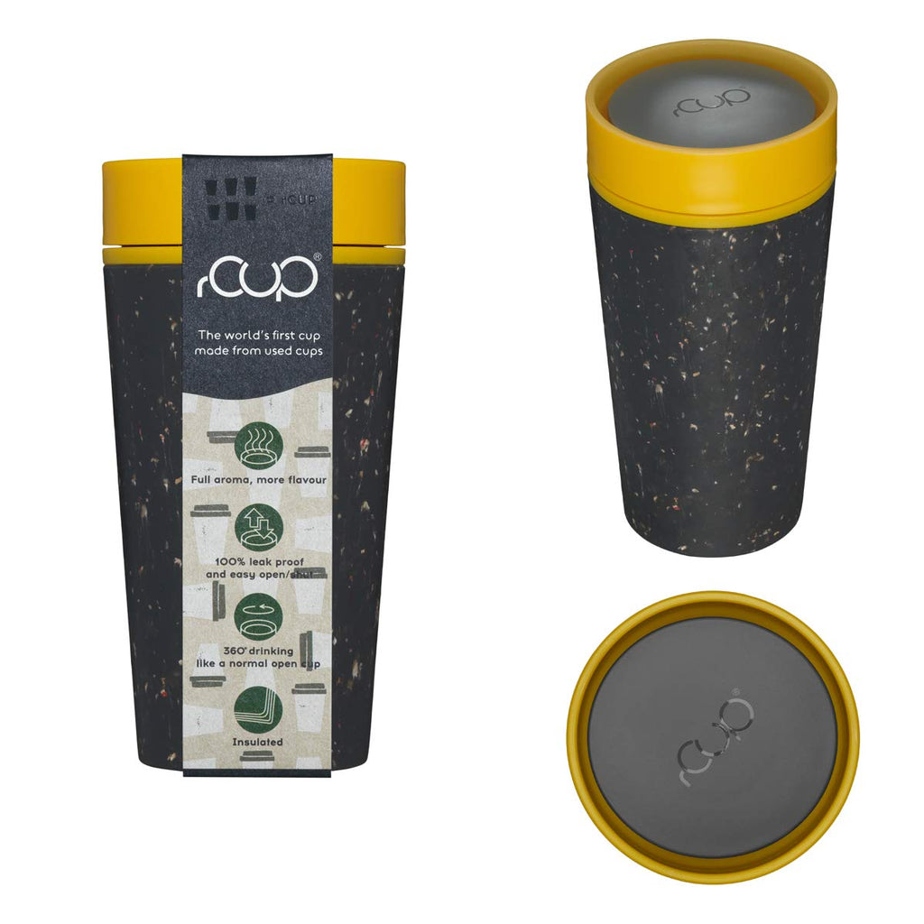 rCup - World's First Reusable Cup Made from Recycled Cups (Black - Mustard)