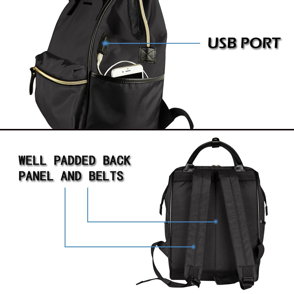 Laptop Backpack 15.6 Inch Water Repellent Travel Backpack with USB Port-Black - Bleisure Travels