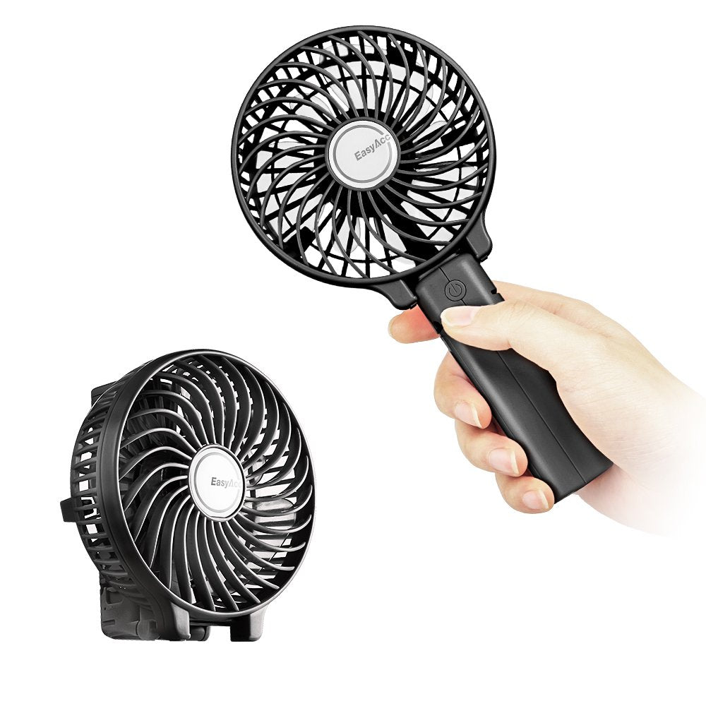 EasyAcc Handheld Electric Rechargeable Fan - Black